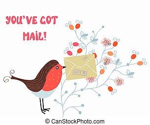 divertido, pauta flor, correo, pájaro, tarjeta