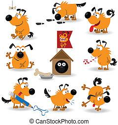 divertido, perros, set#2