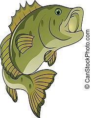 divertido, pez, caricatura