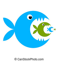 divertido, pez, diseño, su, caricatura