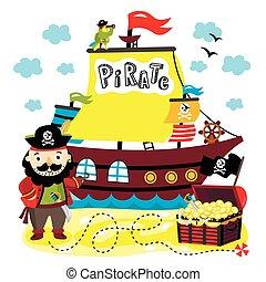divertido, pirata, elementos, aislado, blanco, plano de fondo