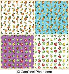 divertido, plátanos, piñas, seamless, conjunto, manzanas, plano de fondo, fruits