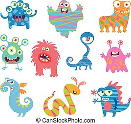 divertido, poco, conjunto, monstruos