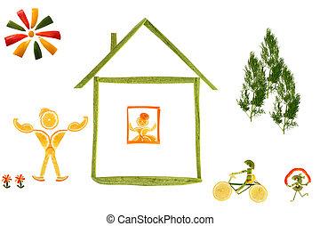 divertido, poco, hecho, gente, sano, casa, eating.,...