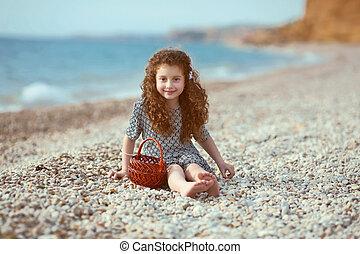 divertido, poco, playa., rizado, descansar, pelo largo, al...