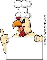 divertido, pollo, caricatura