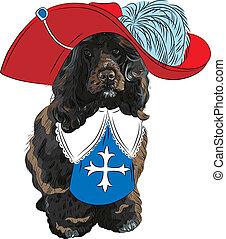 divertido, portugués, mosquetero, perro, agua, vector, caricatura