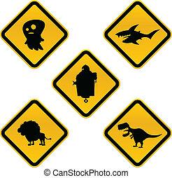 divertido, precaución, señales
