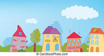 divertido, pueblo, calle, plano de fondo, caricatura