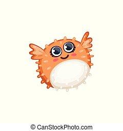 divertido, pufferfish, isolated., o, estilo, ilustración,...