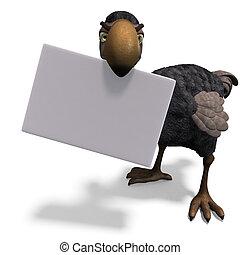 divertido, recorte, interpretación, muy, encima, dodo-bird., toon, trayectoria, sombra, blanco, 3d