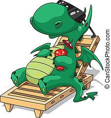 divertido, relajación, dragón
