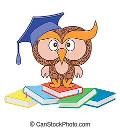 divertido, sabio, búho, sentado, en, el, montón, de, libros