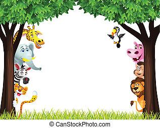 divertido, safari, animal, caricatura