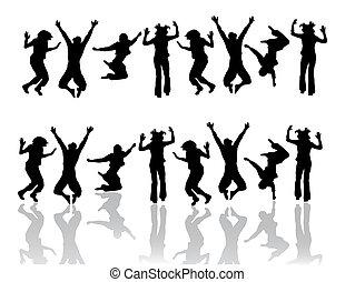 divertido, saltar, adolescente