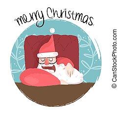 divertido, santa, soñoliento, ilustración, feliz navidad