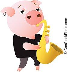 divertido, saxophone., juegos, macho, cerdo
