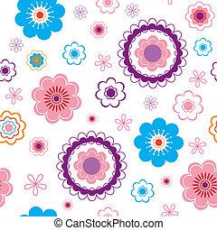 divertido, seamless, flor, fondo.