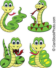 divertido, serpiente, caricatura