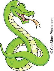 divertido, serpiente, caricatura