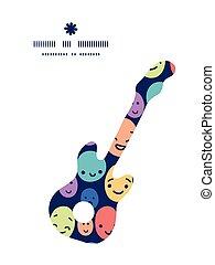 divertido, silueta, patrón, marco, guitarra, vector, música...
