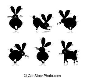 divertido, siluetas, diseño, su, rabbit's
