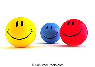 divertido, smiley, 3d, colorido, caras