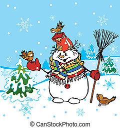 divertido, snowman, escena