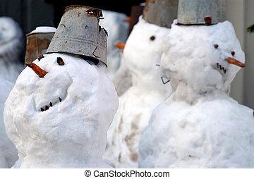 divertido, snowmen