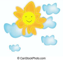 divertido, sonriente, caricatura, sol