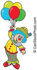 divertido, sonriente, globos, payaso