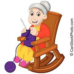divertido, tejido de punto, caricatura, abuela, silla,...