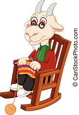 divertido, tejido de punto, caricatura, goat, silla, mecedor