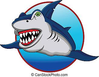 divertido, tiburón, caricatura