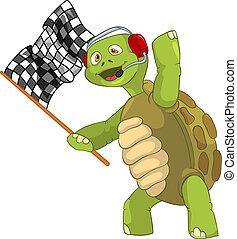 divertido, turtle., carrera, finish.