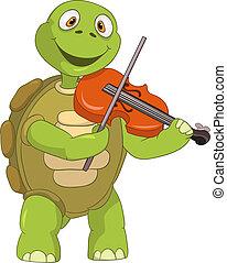 divertido, turtle., violinist.