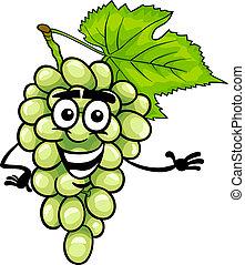 divertido, uvas blancas, fruta, caricatura, ilustración