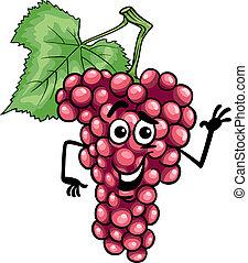 divertido, uvas rojas, fruta, caricatura, ilustración