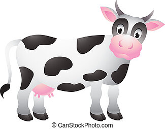 divertido, vaca, caricatura