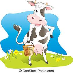 divertido, vaca, cubo, de madera, llevar, leche