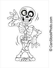 divertido, vector, esqueleto, ilustración