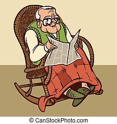 divertido, vector, granddad., caricatura, ilustración