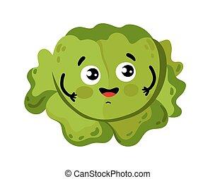 divertido, vegetal, col, caricatura, carácter