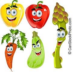 divertido, vegetales, 2, lindo