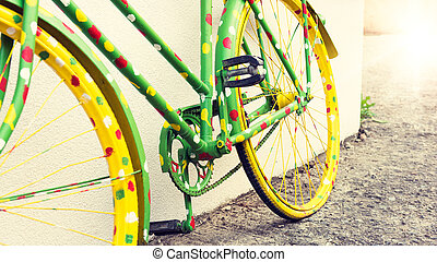 divertido, vendimia, bicicleta