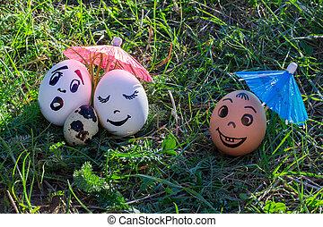 divertido, versicolored, huevos, pareja, bebé, blanco,...