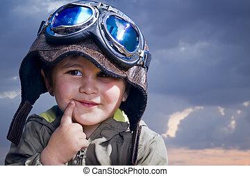 divertido, vestido, cara, bebé, uniforme, adorable, piloto