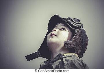 divertido, vestido, gafas de protección, niño, diversión, sombrero, aviador