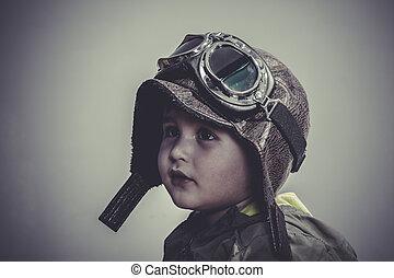 divertido, vestido, viaje, gafas de protección, niño, diversión, sombrero, aviador