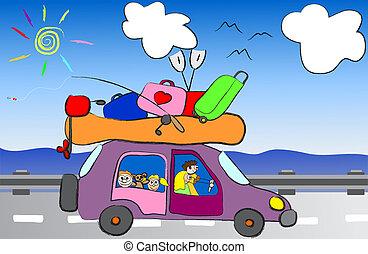 divertido, viaje, caricatura, familia , feliz